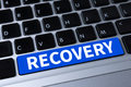 Recovery recovery backup restoration data a message on keyboard Royalty Free Stock Images
