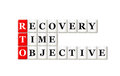 Recovery time objective rto acronym on white background Stock Images