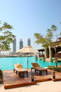 Recreation area at luxury hotel in Dubai downtown Royalty Free Stock Photo