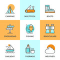 Recreation camping line icons set with flat design elements of activity directional sign crossroad hiking and fishing tent camp Stock Photo