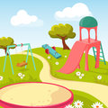 Recreation children park with play equipment vector illustration