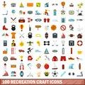 100 recreation craft icons set, flat style