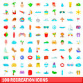 100 recreation icons set, cartoon style