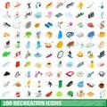 100 recreation icons set, isometric 3d style