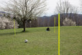 Recreation in nature football on the lawn Stock Photography