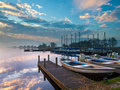 Recreational harbor at a lake Royalty Free Stock Photography