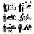 Recreational outdoor leisure activities clipart a set of human pictogram representing man fishing kite surfing horse riding Royalty Free Stock Photography