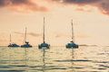 Recreational yachts at the indian ocean beautiful sunset Royalty Free Stock Photos
