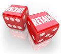 Recruit and Retain 2 Red Dice Attract Job Candidate Hire Reward Royalty Free Stock Photo