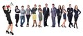 Recruitment agency business women with megaphone standing in front of other busines people Royalty Free Stock Photography