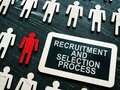 Recruitment and selection process phrase and small figures and red one. Royalty Free Stock Photo