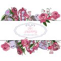 Rectangle composition of hand draw and color sketch of pink rose flowers and leaves, twirls, sweetmeat and other gifts. Royalty Free Stock Photo