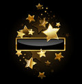 Rectangular banner with gold stars black frame decorated on a black background Stock Image