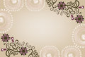 Rectangular frame with lace and floral pattern on a beige background Stock Photo