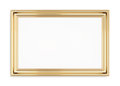Rectangular gold picture frame on a white background. 3d rendering