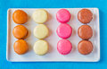 Rectangular Plate of Colorful Macarons Royalty Free Stock Photo