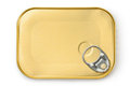 Rectangular tin with ring pull Royalty Free Stock Images