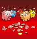 Rectángulos de la Cerdo-moneda Foto de archivo