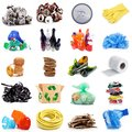 Recyclable waste collage in white background Royalty Free Stock Photo