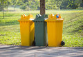 Recycle bins in the park Royalty Free Stock Photo