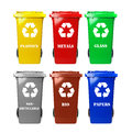 Recycle bins six colorful on white Royalty Free Stock Image