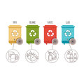 Recycle bins. Waste management and recycle concept. Colored bins with waste types Royalty Free Stock Photo