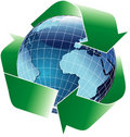 Recycle blue globe Stock Photography