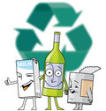 Recycle characters brick bottle and can in front of symbol Stock Photography