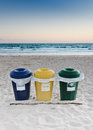 Recycle garbage bins on the beach in peniche portugal Royalty Free Stock Photography