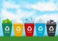 Recycle garbage bins plastic organic battery glass metal paper. Trash