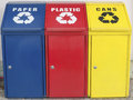 Recycle garbage different color containers for recycling Stock Photo