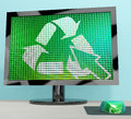 Recycle Icon Computer Screen Showing Recycling And Eco Friendly Stock Photo