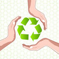 Recycle icon with hands Royalty Free Stock Image