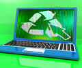 Recycle Icon On Laptop Showing Recycling And Eco Friendly Royalty Free Stock Photography
