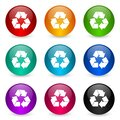 Recycle icon set, colorful glossy 3d rendering ball buttons in 9 color options for webdesign and mobile applications Royalty Free Stock Photo