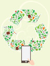 Recycle icon tree page illustration design symbol Stock Photos