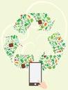 Recycle icon tree page illustration design symbol Stock Photos