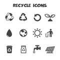 Recycle icons mono vector symbols Stock Photography