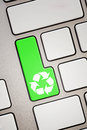 Recycle key special green on a keyboard Stock Images