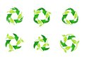 Recycle logo, circle, natural, green, leaves, ecology, leaf, recycling set of round symbol icon vector design Royalty Free Stock Photo