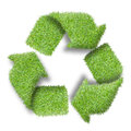 Recycle logo symbol from the green grass on white Stock Photo