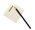 Recycle paper and black pencil isolate on white with clipping pa Royalty Free Stock Photo