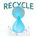 Recycle the plastic bottles to save the planet ear earth concept Royalty Free Stock Photography