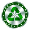 Recycle, reuse, reduce green hologram icon,arrows symbol, . Save the planet, environmental protection recycle sign Royalty Free Stock Photo