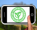 Recycle on smartphone shows environmental care or nature conservation Royalty Free Stock Image