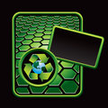 Recycle symbol around earth on green hexagon ad Stock Photography