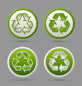 Recycle symbol badges set of recycled isolated on grey background Royalty Free Stock Photography