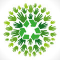 Recycle symbol cocnept with hand background Royalty Free Stock Photo