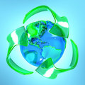 Recycle symbol with earth Royalty Free Stock Images