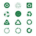 Recycle Symbol Green Arrows Logo Set Web Icon Collection Royalty Free Stock Photo